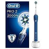 Oral-B Pro 2 2000N Elektrische Zahnbürste, mit visueller Andruckkontrolle und CrossAction Aufsteckbürste, weiß/blau
