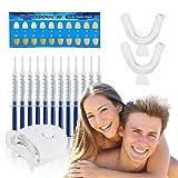 FAMINESS Zahnaufhellung Set | Zähne Bleichen Bleaching Set | 12x Teeth Whitening Gel für Weiße Zähne Zahnpflege | Home Zahnbleaching Kit gegen Gelbe & Graue Zähne | inkl. LED Licht und 2 Mundschiene