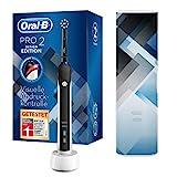 Oral-B PRO 2 2500 Design Edition Elektrische Zahnbürste/Electric Toothbrush mit visueller Andruckkontrolle für extra Zahnfleischschutz, 2 Putzprogramme inkl. Sensitiv, Timer & Reiseetui, schwarz