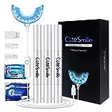 Bleaching Zähne, VIBITRIT Zahnbleaching Set mit Wasserdichte LED-Licht Mund Tablett, 3 Stück Zahn Bleaching Gel, Whitens in 16 Minuten