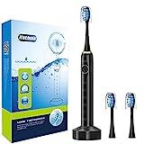 ITECHNIK Elektrische Zahnbürste Schallzahnbürste, 3.5 Stunden hält Min 30 Tage, mit 5 Reinigungs-Modi 2 Minuten Timer Wasserdicht 3 Aufsteckbürsten, ST-102 (Schwarz)